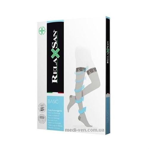 Женские компрессионные чулки с КРУЖЕВНОЙ РЕЗИНКОЙ Relaxsan Basic 1 класс компрессии открытый носок